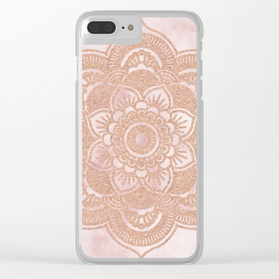 Rose gold mandala - pink marble Clear iPhone Case