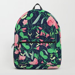 Pretty floral pattern. Sweet Pea. Backpack