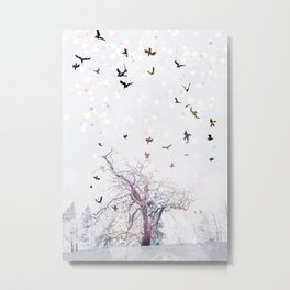 Axis Mundi in Color With Crows Metal Print