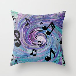 Musical Notes in Blue Throw Pillow
