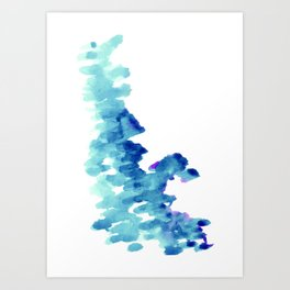 Blue, turquoise water cloud. Colorful watercolor painting Art Print