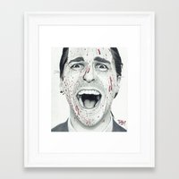 american psycho Framed Art Prints featuring American Psycho by TYP Portraits