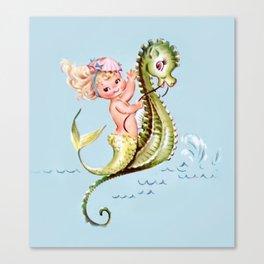 Mermaid on Seahorse Canvas Print