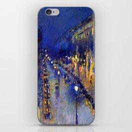 Pissarro Montmartre Boulevard Night iPhone Skin