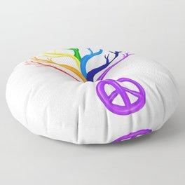 Rainbow Peace Sign Tree Floor Pillow