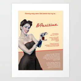 """""""B-Positive"""" - The Playful Pinup - Vampire Parody Pinup Girl Ad by Maxwell H. Johnson Art Print"""