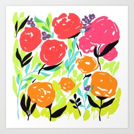 Pink Red Orange Summer Flowers / Bright Rose Pattern / Fun Floral Pattern / Neon Rose Garden Art Print