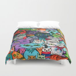 Crazy Cats Color  Duvet Cover