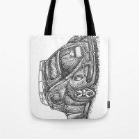 volkswagen Tote Bags featuring Volkswagen Beetle by Akkattoos