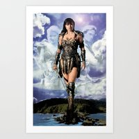 xena Art Prints featuring Xena: Warrior Princess by SB Art Productions