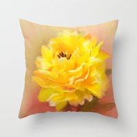 dahlia Throw Pillows featuring Dahlia by Mary Timman