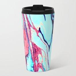 Turquoise Blue Rose Marble Background Travel Mug