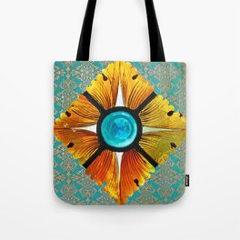 stained glass on turquoise Tote Bag