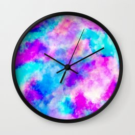 Modern hand painted neon pink teal abstract watercolor Wall Clock