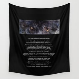 TWO WOLVES CHEROKEE  Native American Tale Wall Tapestry