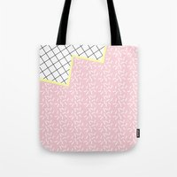 memphis Tote Bags featuring MEMPHIS PINK by Rocío Olmo