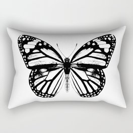 Monarch Butterfly | Black and White Rectangular Pillow
