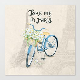 Vintage Blue Bicycle with Flowers in Paris Canvas Print