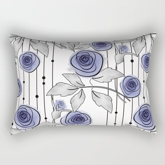 Blue Roses on striped background. Rectangular Pillow