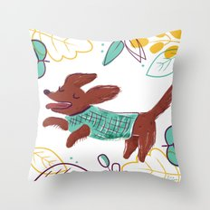 Happy Fall, Dogs! (Ginger) Throw Pillow