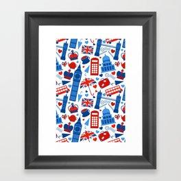 Fondo de patrón sin fisuras con hitos de Londres y símbolos de Gran Bretaña ilustración vectoria Framed Art Print