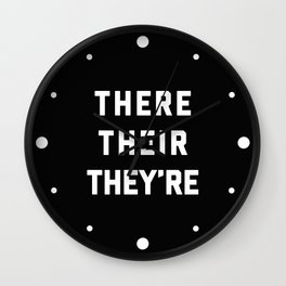 There Their They're Funny Quote Wall Clock