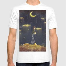 Man reaching for stars  at top of tall ladder Mens Fitted Tee White MEDIUM