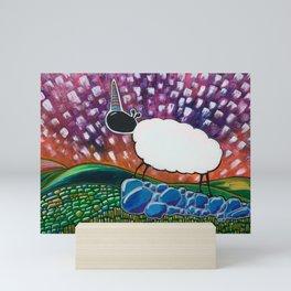 Uni-sheep on the Hills Mini Art Print