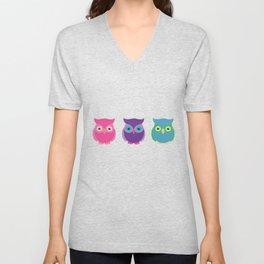 Rainbow Owl Cuties Unisex V-Neck