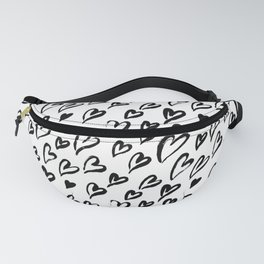 Hearts. Brush-lettered seamless pattern Fanny Pack