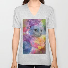 Paint with Colorful Cat Unisex V-Neck