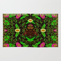 grafitti Area & Throw Rugs featuring Lady Pandas Jungle grafitti by Pepita Selles