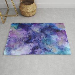 Abstract Watercolor, Ink Prints, Indigo, Blue, Purple Rug