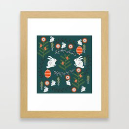 Winter holidays with bunnies Framed Art Print