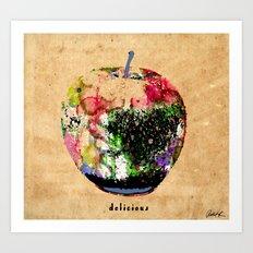Apple Art Abstract Paintings Modern Watercolor Robert R Splashy Art Art Print