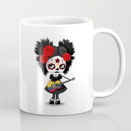 Day of the Dead Girl Playing Ecuadorian Flag Guitar Coffee Mug