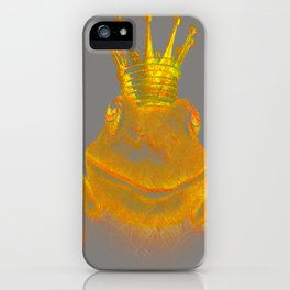 Simple Golden King Frog on Grey Day iPhone Case