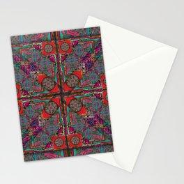 no. 124 red orange purple pattern Stationery Cards