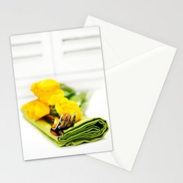 spring table settings with fresh tulips Stationery Cards