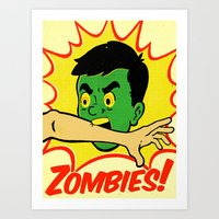 zombies Art Prints featuring Zombies! by Derek Eads