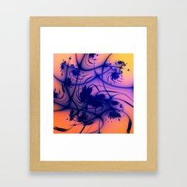 Blue ink blots Framed Art Print