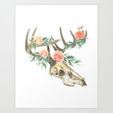 Bohemian deer skull and antlers with flowers Art Print