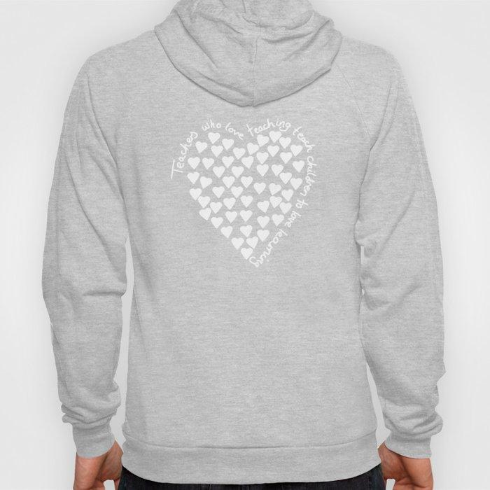Hearts Heart Teacher White on Black Hoody