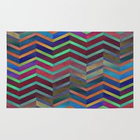 holographic Area & Throw Rugs featuring Color Transition Chevron by Klara Acel