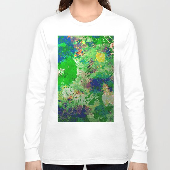 Spring Time Splatter - Abstract blue and green platter painting Long Sleeve T-shirt