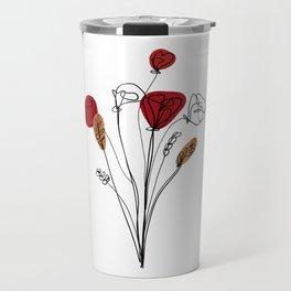 Poppy bouquet line art Travel Mug