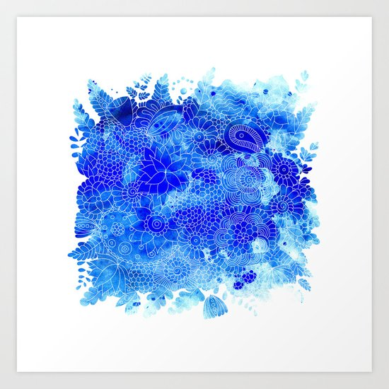 Blue Floral Pattern 02 Art Print
