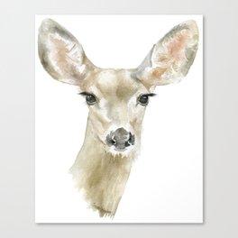 Doe Deer Watercolor Painting Fine Art Canvas Print