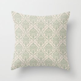 Ivory and Sage Green Damask Pattern Throw Pillow