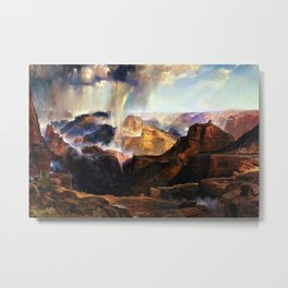 The Chasm of the Colorado, Windswept Rain Storm, Grand Canyon landscape by Thomas Moran Metal Print